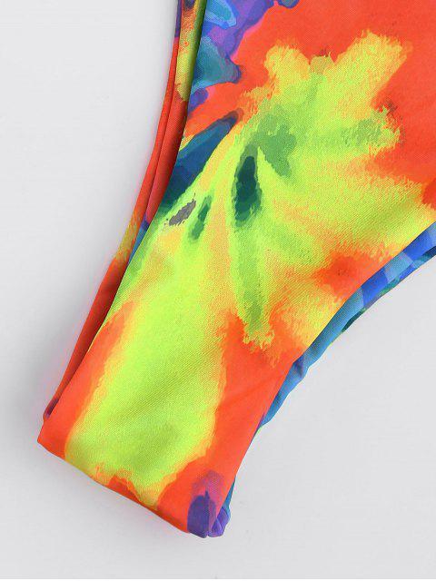 ladies Tie Dye Braided Criss Cross Bikini Set - YELLOW S Mobile