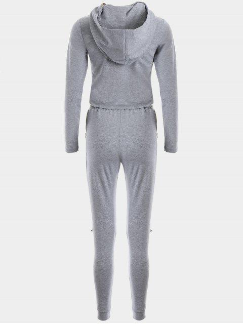 lady Asymmetric Crossover Hoodie with Jogger Pants - GRAY M Mobile