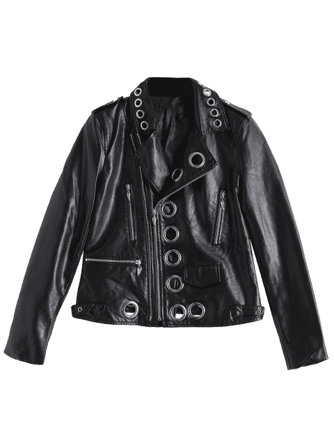 ladies Hollow Out Ring Embellished Faux Leather Jacket - BLACK S Mobile