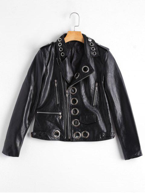 lady Hollow Out Ring Embellished Faux Leather Jacket - BLACK M Mobile
