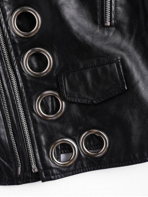 best Hollow Out Ring Embellished Faux Leather Jacket - BLACK L Mobile
