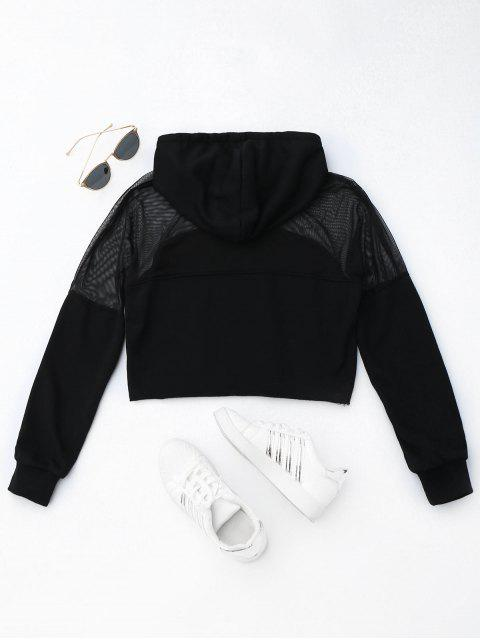 affordable Cropped Mesh Sports Hoodie - BLACK S Mobile