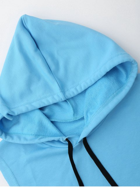 fancy Dropped Armhole Hooded Sports Top - AZURE ONE SIZE Mobile