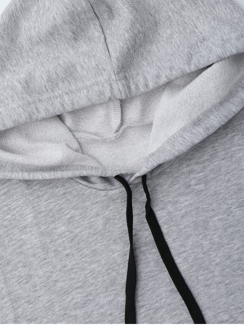 unique Dropped Armhole Hooded Sports Top - GRAY ONE SIZE Mobile