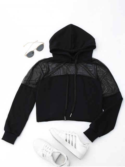 sale Cropped Mesh Sports Hoodie - BLACK M Mobile