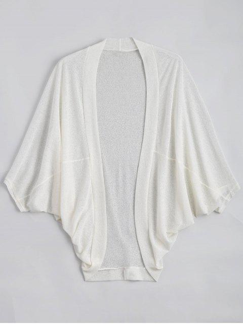 unique Plus Size Semi Sheer Batwing Sleeve Collarless Top - WHITE 3XL Mobile