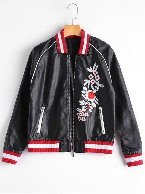 shop Floral Letter Patched Faux Leather Bomber Jacket - BLACK S Mobile