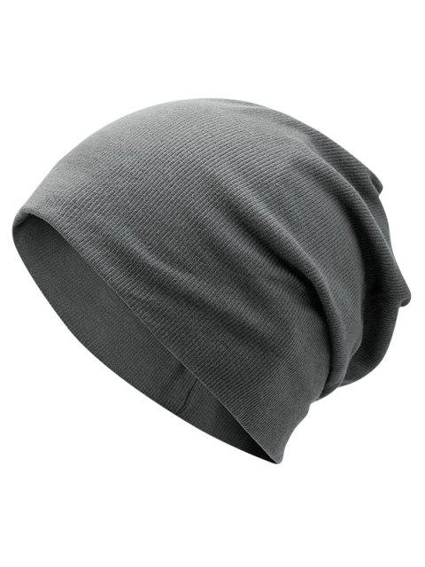 outfit Plain Fall Knitted Pinstriped Beanie Hat - DEEP GRAY  Mobile