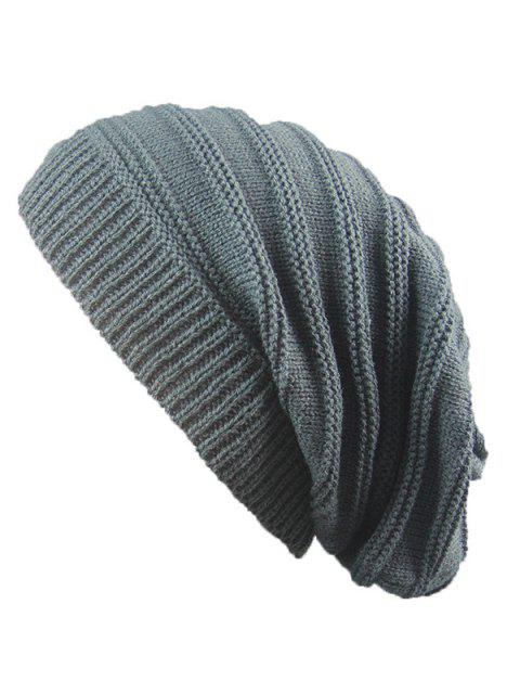 trendy Striped Ribbing Knitting Stacking Beanie Hat - DEEP GRAY  Mobile