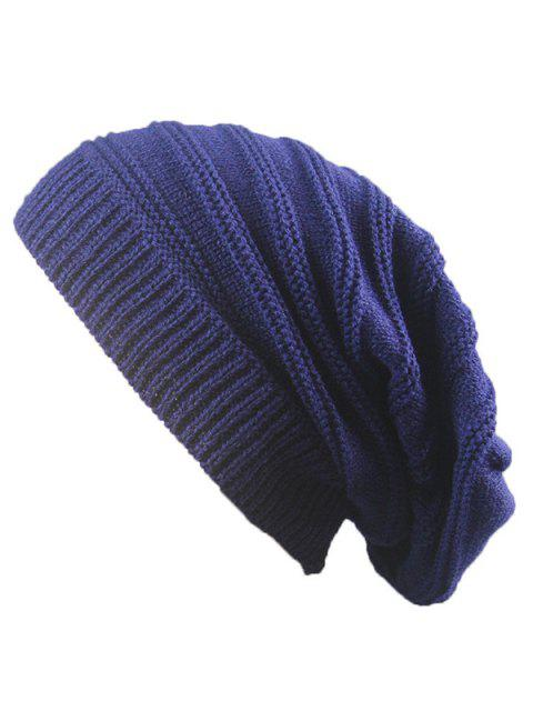 Striped Ribbing de punto de apilamiento Beanie Hat - Azul Marino   Mobile