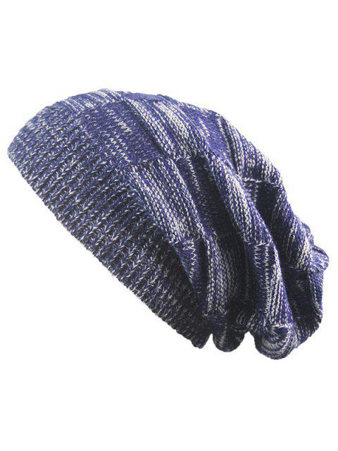 Bonnet Rayé À Tricoter Côtelé Chaud - Bleu Cadette  Mobile