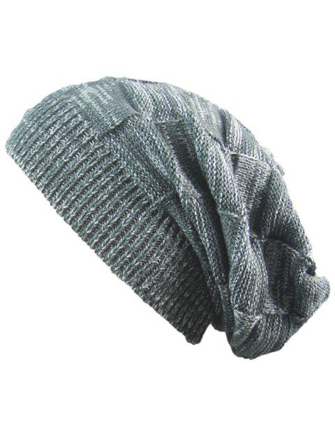 women Striped Rib Knitting Warm Beanie Hat - DEEP GRAY  Mobile