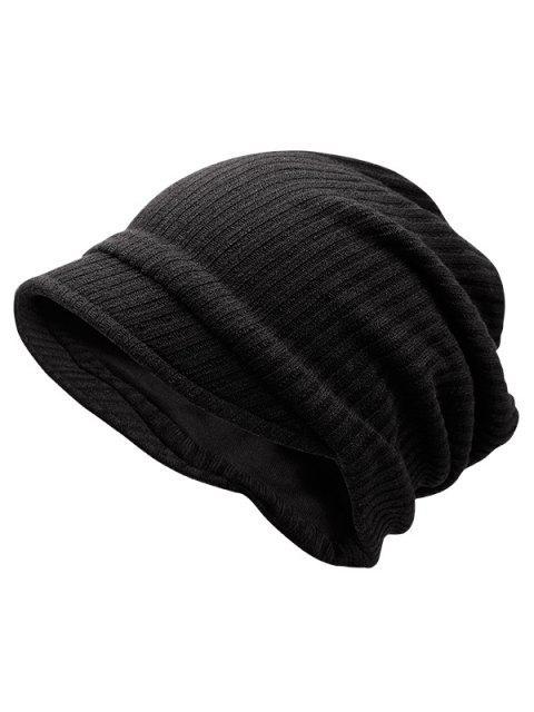 Chapeau À Rayures En Maille Chaude Tricotée - Noir  Mobile