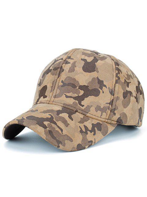 Chapeau De Baseball De Motif De Camouflage En Faux Suède - Kaki  Mobile