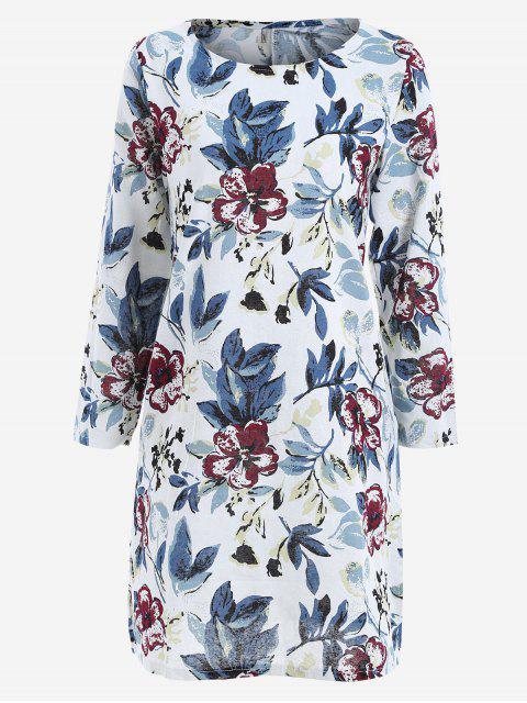 fashion Leaves Print Side Slit Trapeze Dress - BLUE XL Mobile