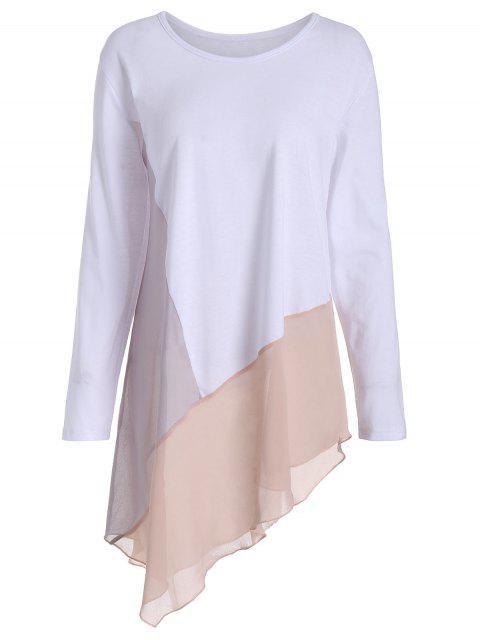 T-shirt Asymétrique Contrastant à Manches Longues Grande Taille - Blanc 4XL Mobile