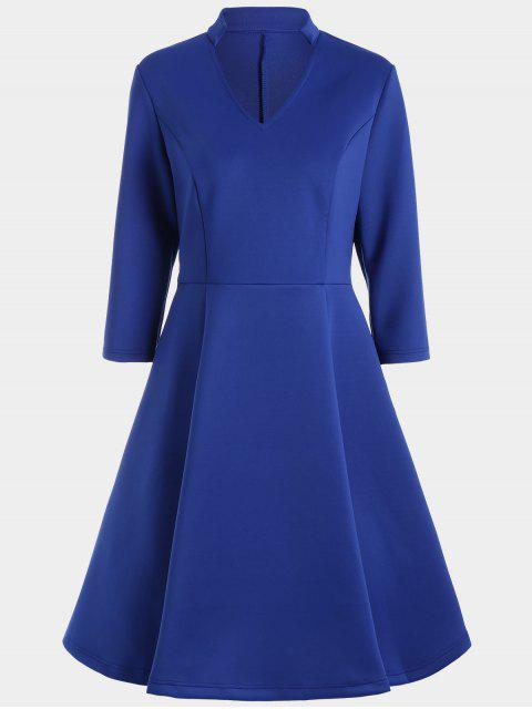 lady V Neck Three Quarter Sleeves Dress - BLUE M Mobile
