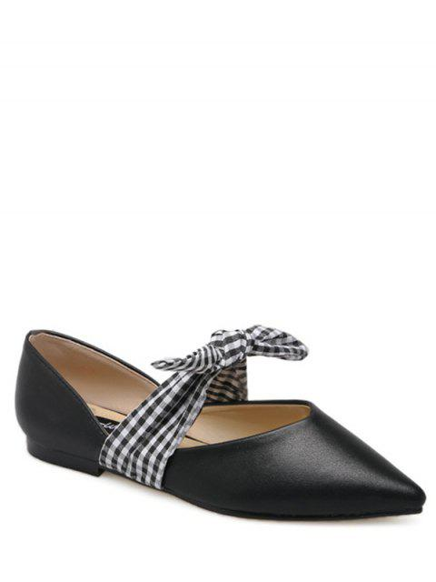 shop Faux Leather Pointed Toe Tie Up Flat Shoes - BLACK 38 Mobile