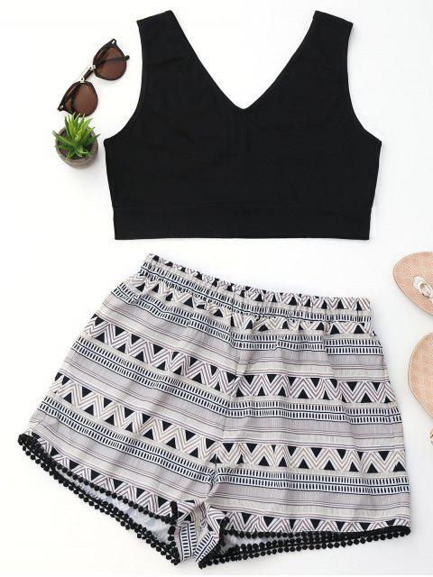 best Crop Top and Geometric Print Shorts Set - BLACK S Mobile