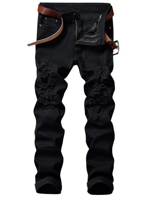 buy Zip Fly Straight Ripped Jean Men Clothes - BLACK 42 Mobile