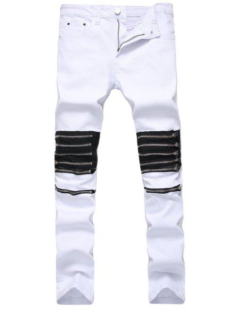 hot Multi Zippers Panel Slim Fit Jeans - WHITE 42 Mobile
