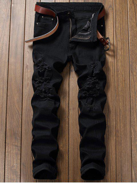 Zip Fly Straight Jeans con Rips extremos - Negro 42 Mobile