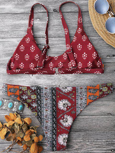 trendy Patchwork Print Bralette Scoop Bikini Set - RED L Mobile