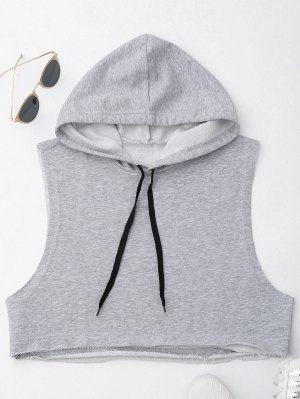 Dropped Armhole Hooded Sports Top