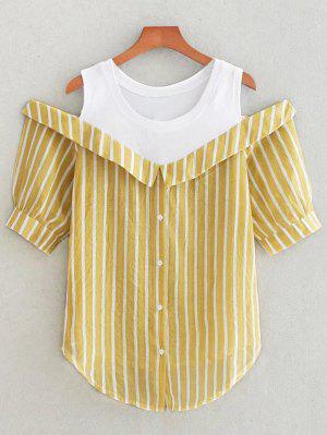 Button Up Cold Shoulder Striped Blouse - Ginger