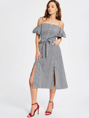 Puff Sleeve Slit Belted Checked Cami Dress - Checked Xl