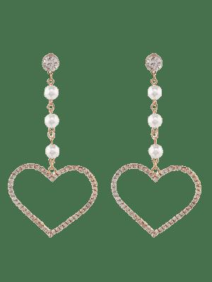 Faux Pearl Rhinestone Heart Dangle Earrings - Golden