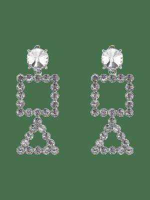 Rhinestone Triangle Geometric Dangle Earrings - Prata