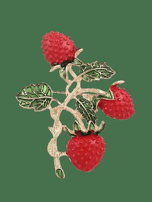 Hoja Fruta Fresa Broche - Rojo