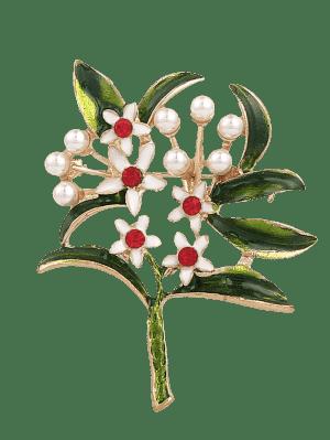 Broche De Flores De Perlas De Imitación De Diamantes De Imitación - Verde
