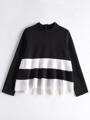 Camiseta De Cuello Alto De Dos Tonos - Blanco Y Negro