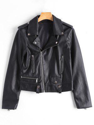 Asymmetric Zipper Faux Leather Biker Jacket - Black S