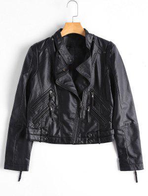 Asimétrico De Cremallera Faux Leather Biker Jacket - Negro Xl
