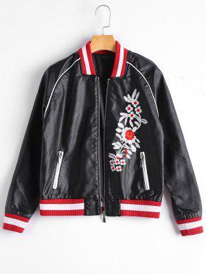 Floral Letter Patched Faux Leather Bomber Jacket - Black L