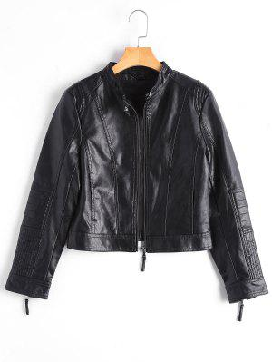 Zippered Faux Leather Jacket With Invisible Pockets - Black M