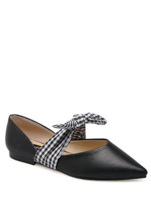 Faux Leather Pointed Toe Tie Up Flat Shoes - Black 38