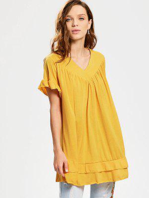V Neck Ruffle Hem Tiered Long Blouse - Amarelo Gengibre Xl
