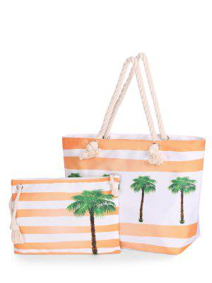 Color Blcok 2 Pieces Striped Shoulder Bag Set - Bright Orange