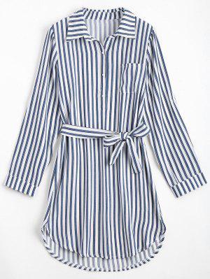 Belted Striped Long Sleeve Dress - Deep Blue M