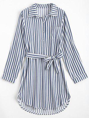 Belted Striped Long Sleeve Dress