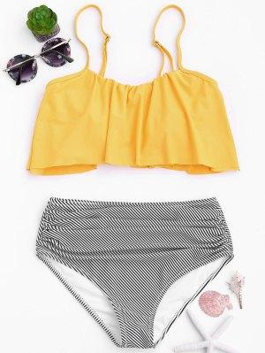 Stripe Panel High Waisted Bikini Set - Yellow L