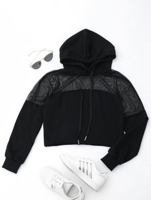 Cropped Mesh Sports Hoodie