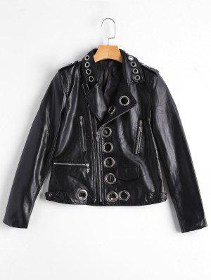 Hollow Out Ring Embellished Faux Leather Jacket - Black L