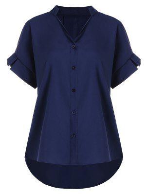 Button Up V Neck Plus Size Blouse