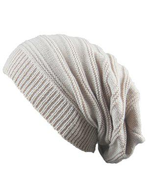 Striped Ribbing Knitting Stacking Beanie Hat