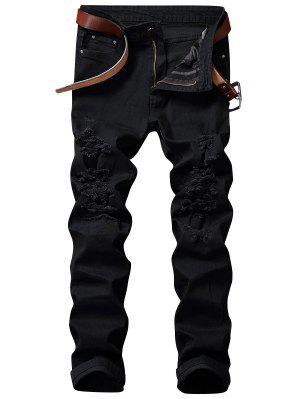 Zip Fly Straight Jeans con Rips extremos
